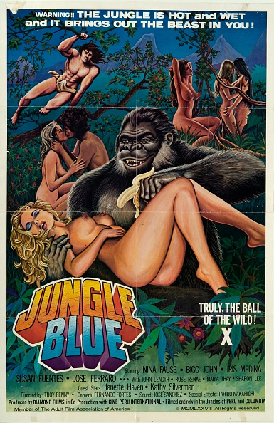(EDITORS NOTE: Image contains suggestive content.)A poster for the pornographic film 'Jungle Blue', featuring a gorilla offering a banana to a naked woman, 1978. (Photo by Movie Poster Image Art/Getty Images)