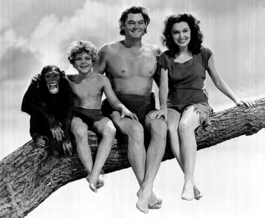 Left to right are Cheetah the Chimp, Johnny Sheffield as Boy, Johnny Weismuller as Tarzan, and Maureen O'Sullivan, in an undated publicity still. The three starred in several Tarzan movies from 1939 to 1942. --- Image by © Bettmann/CORBIS